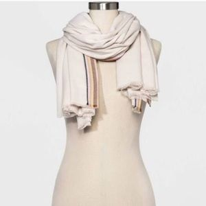 A NEW DAY | Cream Scarf w/ Green & Red Accents